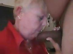 Blowjob, Granny, Handjob, Interracial