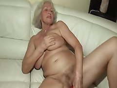 Hairy, Granny, Dildo, First Time